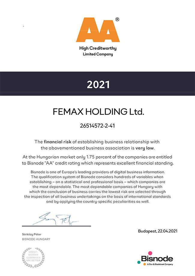 Femax Holding Kft. - AA High Creditworthy. Pénzügyileg stabil vállalkozás a Bisnode minősítése alapján