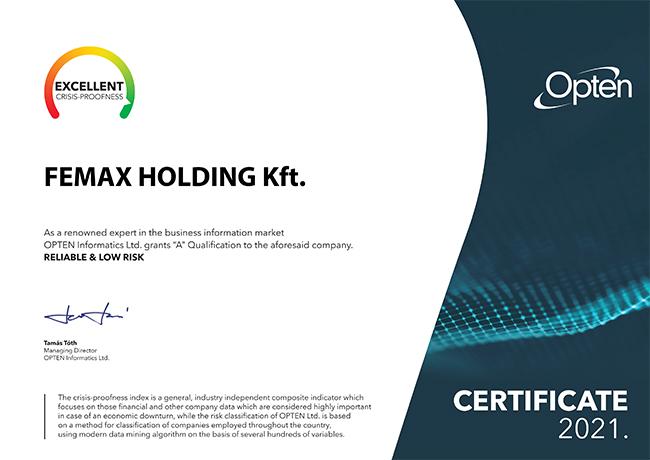 Femax Holding Kft. - Opten Kft. A minősítés